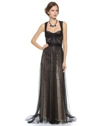 Monique Lhuillier Bustier Top Gown with Tulle Straps black - Lyst
