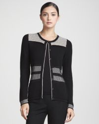 Rena Lange Multitexture Illusiondetail Cardigan - Lyst