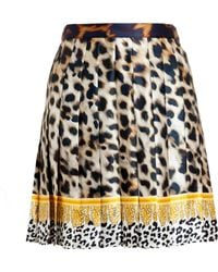 Versus  Leopard Printed Pleated Silk Skirt - Lyst