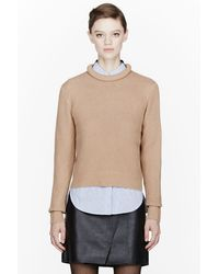 3.1 Phillip Lim Tan Merino_marten Blend Mixed Stitch Sweater - Lyst