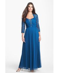 Alex Evenings Lace Mesh Gown - Lyst
