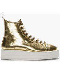 Comme des Garçons Metallic Gold Leather Flatform Sneakers - Lyst