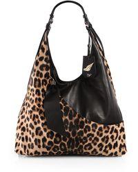 Diane von Furstenberg Leopard Calf Hair Leather Hobo - Lyst