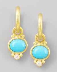 Elizabeth Locke Turquoise Diamond Earring Pendants Lyst
