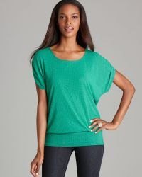 Grayse - Green Grid Double Mesh Banded Tee - Lyst
