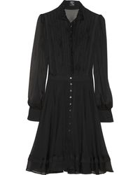 McQ by Alexander McQueen Pleated Tulle Trimmed Silk Dress - Lyst