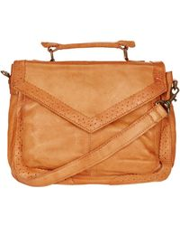 Topshop Brogue Leather Satchel - Lyst