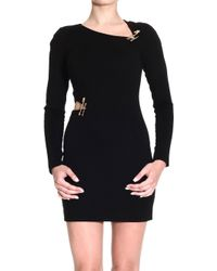 Versus  Dress Long Sleeves Milan Stitch with Brooches and Cuts - Lyst