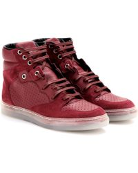 Balenciaga Leather and Suede Hightop Sneakers - Lyst