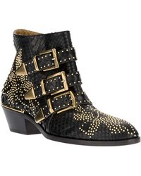 Chloé Susanna Studded Buckled Leather Ankle Boots - Lyst