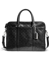 Coach Bleecker Slim Brief in Op Art Embossed Leather - Lyst