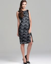 Black Halo Coated Lace Stretch Panel Dress Maicy - Lyst