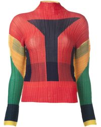 Issey Miyake Ribbed Pleat Blouse - Lyst