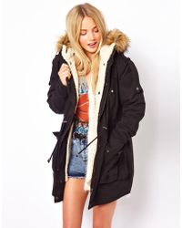 Asos Asos Fur Hooded Detachable Lined Parka - Lyst