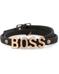 BCBGeneration - Rose Goldtone Boss Black Wrap Bracelet - Lyst