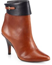 10 Crosby Derek Lam Vicky Bicolor Leather Ankle Boots brown - Lyst