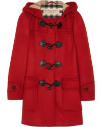 Burberry Brit - Hooded Wool Duffle Coat - Lyst