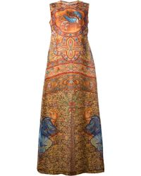 Dolce & Gabbana Long Silk Mosaic Print Dress - Lyst
