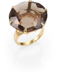 Ippolita Gemma Collection Smokey Quartz and 18k Yellow Gold Large Ring gold - Lyst