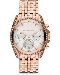 Michael Kors Crystal Accented Rose Gold Tone Finished Stainless Steel Bracelet Watch - Lyst