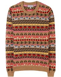 Mulberry Fairisle Camel and Cashmereblend Pullover - Lyst