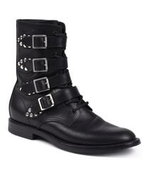 Saint Laurent Rangers Studded Leather Ankle Boots - Lyst