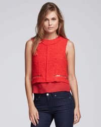 Acne Studios Sleeveless Boucle Doublelayer Blouse Crimson - Lyst