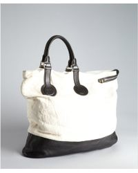 Celine White Canvas And Black Large Asymmetrical Folded Tote Bag - Lyst