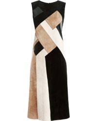 Derek Lam Wool Dress with Suede and Leather Insets - Lyst