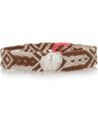 Dezso by Sara Beltran - Neutrals Shell Woven-Cotton And Silver Friendship Bracelet - Lyst
