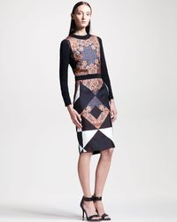 Givenchy Printed Longsleeve Combo Dress - Lyst