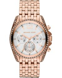 Michael Kors Midsize Rose Golden Pressley Chronograph Glitz Watch - Lyst
