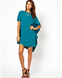 Asos Shift Dress with Asymmetric Hem - Lyst