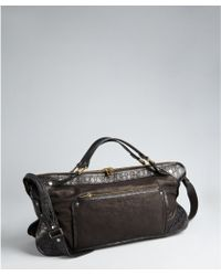 Celine  Washed and Croc Embossed Leather Convertible Top Handle Bag - Lyst