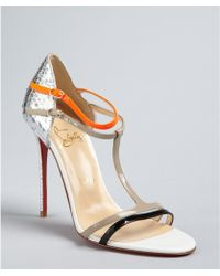 Christian Louboutin Silver and Florescent Orange Arnold 100 Python Sandals - Lyst