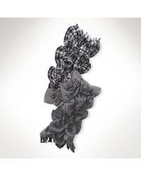 Lauren by Ralph Lauren Wool Patchwork Ruffled Scarf - Lyst