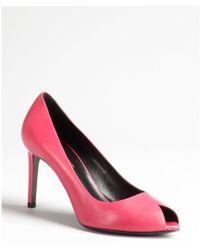 Saint Laurent French Rose Leather Classic Peep Toe Pump - Lyst