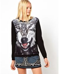The Textile Rebels Wool Cashmere Sweater with Wolf Printed Silk Mix Panel - Lyst