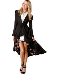 Akira Black Label - Highlow Floral Lined Trench - Lyst