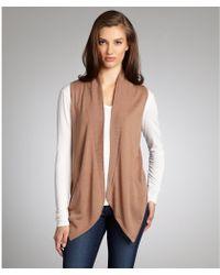 BCBGMAXAZRIA Camel Wool Blend Knit 'Anton' Open Vest - Lyst