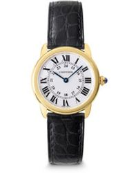 Cartier Ronde Solo 18k Gold Leather Strap Watchsmall - Lyst