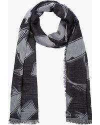 Kris Van Assche - Grey and Black Reversed Eagle Print Scarf - Lyst