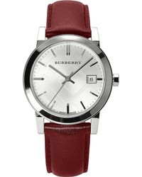 Burberry Stainless Steel and Leather Watch Silver - Lyst