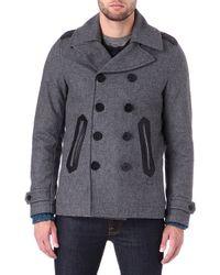 Diesel Wede Wool-Blend Pea Coat - For Men gray - Lyst