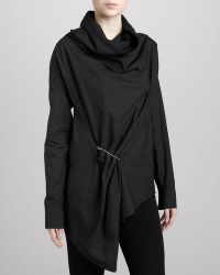 Donna Karan New York Cowlneck Pinned Top Black - Lyst