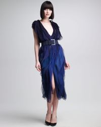 Donna Karan New York Ombre Tissue Chiffon Ribbon Dress - Lyst