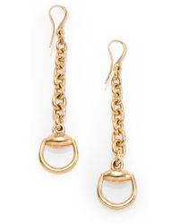 Gucci 18k Gold Horsebit Drop Earrings - Lyst