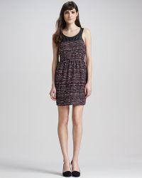 Madison Marcus - Leathertop Tweed Dress - Lyst