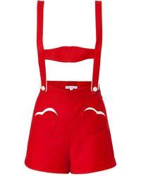Olympia Le-Tan - Wool Mini Leder Hosen in Red - Lyst