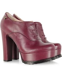 Patrizia Pepe - Brushed Lipstick Red Platform Lace Up Shoe - Lyst